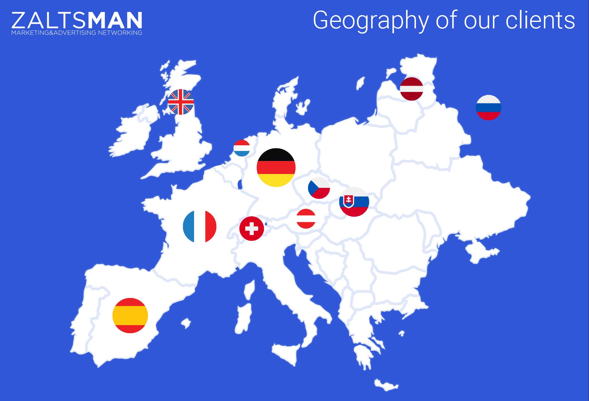 Zaltsman Media Client's countries